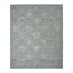 """Nourison - Nourison Silk Infusion SIF01 5'3"""" x 7'5"""" Blue Area Rug 17972 - A traditional Damask design is both elegant and intriguing when imparted with a glorious glow and displayed in moody hues of indigo, white and black. Splendid silk detailing paired with a magnificent pile gives an utterly enchanting look and feel."""