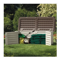 Suncast - Blow Molded Split Lid Shed - Color: Light taupe with mocha accents . 269 gallon capacity . Great for storing patio umbrellas and large cushions . Ideal for yard gear and recycling bins . Holds up to1/4 cord of firewood . Split lid design with double doors for easy access . Strong, durable construction features 1 1/2 in. thick double wall construction . Lockable lid for security. 88 in. W x 36 in. D x 34 in. H. Internal Size: 79 in. W x 27 in. D x 29 in. H