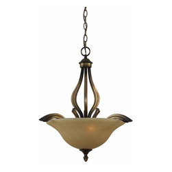 Triarch International - The Value Series 230 Pendant in Platinum Bronze Finish - The Value Series 230 Pendant in a Platinum Bronze finish with Cognac Scavo Glass. 3-60 Watt Medium Base bulbs not included. UL Approved. 21 in. W x 24 in. H (13 lbs)