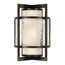 Fine Art Lamps - Singapore Moderne Outdoor Outdoor Wall Sconce, 818281ST - This outdoor sconce lantern cleverly mixes serene Asian and bold design styles, setting smooth curves within an angled frame and matte off-white glass behind a clear, textured screen. The strong lines and geometric shapes contrast with the soft filtered light for a look that's full of quiet flair.