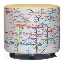 Aroopy - White London Tube Paris Metro Ottoman - If you're a modern metropolitan girl, the city metro route map looks like a map of your day. After you've been hot-footin' it around town on the tube, you can come home and put your feet up on this comfy ottoman adorned with the colorful route lines of the London and Paris metros. The design is printed onto a slipcover, so you can remove it for washing and still have a basic white ottoman in the meantime.