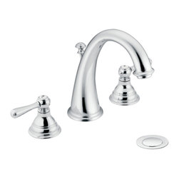 """Moen - Moen Chrome Bath Sink Faucet Trim - Moen T6125 is part of the Kingsley Bath collection. Moen T6125 is a new style bathroom lavatory, sink faucet trim. Moen T612"""" has a Chrome finish. Moen T6125 two handle widespread lavatory faucet mounts in a 3-hole 8"""" - 16"""" Center sink, with 5 1/16"""" long and 7"""" high arc spout. Moen T612"""" has Hydrolock quick connect system and includes a metal pop-up type waste assembly. Moen T6125 two handle widespread trim, fits the MPact common valve system and requires Moen's 9000, or 69000 valve to make this faucet complete. Moen T6125 is part of the Kingsley bath collection with its traditional style combining classic antique look, with modern luxury. This collection delivers the best of both worlds. Moen T6125 two lever handle provides ease of operation. Chrome is a proven finish from Moen and provides style and durability. Moen T6125 metal lever handle meets all requirements ofADA ICC/ANSI A117.1 and ASME A112.18.1/CSA B125.1, NSF 61/9 and proposition 6"""". Water Sense Certified. Lifetime limited Warranty."""