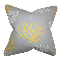 The Pillow Collection - Hafwen Coastal Pillow Yellow - Bring an underwater vibe to your interiors with this nautical throw pillow. This indoor pillow features a coastal pattern in shades of yellow and white against a gray background. This toss pillow is great for your beach house or any settings. Made of 100% high-quality cotton fabric and crafted in the USA. Hidden zipper closure for easy cover removal.  Knife edge finish on all four sides.  Reversible pillow with the same fabric on the back side.  Spot cleaning suggested.