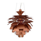 "Modway Furniture - Petal 24"" Chandelier in Copper - Elevate the heart and uplift the mind in a liberated release of light. The Petal Lamp is a study in perception stemming from the inner recesses of the soul. Reflect limitless possibilities and shower abundance as you diffuse light pleasantly with a striking classic for all times and settings. Set Includes: One - Petal Lamp - Silver, 24"""