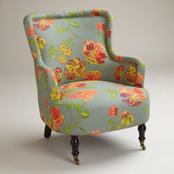 Gray Vintage Floral Reading Chair - What a fun chair! I love the detail of the casters.