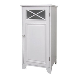 None - Virgo 1-door Floor Cabinet - Virgo 1-door floor cabinet is a charming blend of contemporary and old world-styleBathroom furniture showcases a white finishAccent cabinet is designed with simple lines and crisscross accents