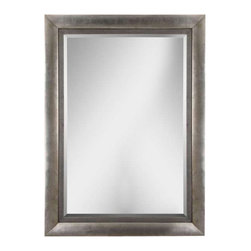 "Uttermost Gilford Antique Silver Mirror - Antiqued silver leaf with black undertones and a gray glaze. This stately mirror features a wood frame finished in antiqued silver leaf with black undertones and a gray glaze. Mirror has a generous 1 1/4"" bevel. May be hung horizontal or vertical."
