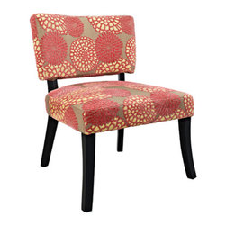 Powell - Powell Pink Flower Armless Chair - A simple way to add feminine flair to any space, the Pink Flower Armless Chair is bold, graphic and fun! The chair features an eyecatching polyester fabric and is finished with dark black legs. Perfect for any decor style, the chair will add a bit of feminine flair to any space.