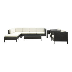 Modway Furniture - Modway La Jolla 9 Piece Sectional Set in Espresso White - 9 Piece Sectional Set in Espresso White belongs to La Jolla Collection by Modway Shine with hidden brilliance with this powerful force of an outdoor living arrangements. Finely constructed espresso rattan seating sectionals with all-weather white fabric cushions give a sense of space and roominess that allow for true flexibility and comfort. Aim higher and give thanks and appreciation to picture perfect days spent outside. Set Includes: One - La Jolla Outdoor Wicker Patio Armless Chair One - La Jolla Outdoor Wicker Patio Coffee Table One - La Jolla Outdoor Wicker Patio Corner Section One - La Jolla Outdoor Wicker Patio Left Arm Section One - La Jolla Outdoor Wicker Patio Loveseat One - La Jolla Outdoor Wicker Patio Ottoman One - La Jolla Outdoor Wicker Patio Side Table Two - La Jolla Outdoor Wicker Patio Armchairs Armless Chair (1), Coffee Table (1) , Corner Section (1), Left Arm Section (1), Loveseat (1), Ottoman (1), Side Table (1) , Arm Chair (2)