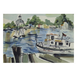 Consigned Original Vintage Watercolor Painting, Boats in Harbor - Original vintage watercolor of boats in harbor.  Water scene with full rich colors and details.