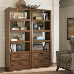 Sligh Longboat Key Crystal Sands Wall Bookcase - Two adjustable wood shelves below the fixed wood shelf with touch activated lighting on each bookshelf. The two storage drawers below open with metal/faux leather pulls. This bookcase is ideal for bunching multiples side by side to create your custom  library wall.
