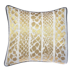 Steve Madden - Steve Madden Lani Metallic Skin Decorative Pillow Multicolor - 204482 - Shop for Pillows from Hayneedle.com! Bring out your wild side with the Steve Madden Lani Metallic Skin Decorative Pillow. With a metallic gold striped animal skin print this decorative pillow is a great way to go wild with your bedroom decor. The machine washable cover is made of cotton and covers a soft polyester insert. Pair with your own bedding or other items in Steve Madden s Lani collection.About Steve Madden (Revman International)Steve Madden made his name as a leading designer of fashionable footwear and accessories; he's even considered the fashion footwear mogul of the 21st century. Now he brings his instinctive ability to sense the next hot fashion trend to a new line of bedding and bath products including sheets comforters beach and bath towels and other home products. This home collection launched in the fall of 2009 is already a big hit due largely to Madden's fashion-forward designs and dedication to quality.