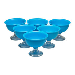 Red Vanilla - Red Vanilla Blue Summer Ice Cream Bowls (Set of 6) - Complete your kitchen dining collection with these blue ice cream bowls. Made from sturdy acrylic, these stylish goblet-designed bowls have a 12-ounce capacity. These practical bowls are perfect for ice cream, sorbet, or frozen yogurt.