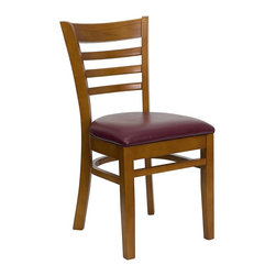 Flash Furniture - Hercules Restaurant Chair w Padded Seat - Set - Set of 2. Ladder style back. 2.5 in. thick 1.4 density foam padded seat. Curved support bars. Plastic floor glides. Burgundy vinyl fabric upholstery. Warranty: 2 year limited. Mortise and Tenon style construction. Metal wood screw reinforcements. Made from solid European beech hardwood. Wooden frame in cherry finish. Minimal assembly required. Back: 14.5 in. W x 15 in. H. Seat: 16.75 in. W x 16.75 in. D. Seat Height: 19.5 in.. Overall: 20 in. W x 17.5 in. D x 33.75 in. H (12 lbs.)