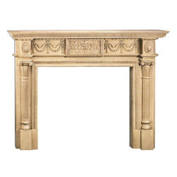 "Inviting Home - Annapolis Large Fireplace Mantel - Annapolis large fireplace mantel overall - 82-1/2""W x 60""H opening - 58""W x 42""H shelf - 89-1/2""W x 10""D Wood fireplace mantels are hand-carved from premium selected hard maple. Fireplace mantels come unfinished finely sanded ready to accept any stain to match you surrounding woodwork. Classic gracious design of the wood fireplace mantels speaks gently of understated elegance and undeniable refinement."