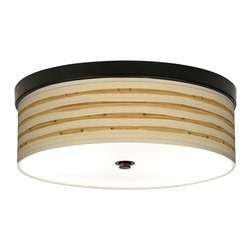 Giclee Gallery - Bamboo Wrap Giclee Energy Efficient Flushmount Ceiling Light - An energy efficient bronze flushmount ceiling light with a giclee canvas shade in a wonderful bamboo pattern. This stylish, energy-efficient flushmount fixture features a custom-made giclee style shade with a pattern printed on high-quality canvas. An acrylic diffuser at the bottom prevents glare from the two included CFL bulbs. The canopy and accents are in a bronze finish. The giclee shade is made to order. U.S. Patent # 7,347,593.