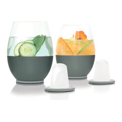 soireehome - Stemless Self-Chilling Smart Glassware, Set of 2 - A pair of the first self-chilling stemless glassware.  Designed for wine, but great with any of your favorite beverages. Dimple's integrated chilling technology keeps beverages cold to the last drop without ice diluting your drink. Simply pre-freeze the gel-filled dimples & they magnetically affix into the base of the custom designed lead-free borosilicate glassware. Dimple will revolutionize fine beverage enjoyment. This set has a modern stemless shape and each glass can hold up to 22oz. Built-in grey insulating grip and two grey dimple freezing cones included.