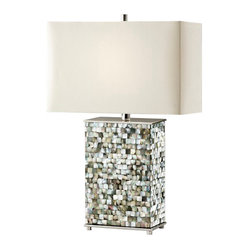 Polished Nickel / Black Pearl Shell Lamp