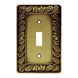 Liberty Hardware - Liberty Hardware 64049 Paisley WP Collection 3.15 Inch Switch Plate - The Paisley design adds a glamorous feel to every room with its tear drop design. The antique brass finish brings distinguished style and old world feel to any room. Fasteners are included and sized to fit standard electrical boxes. This family is available in the 10 most popular wall plate configurations. Width - 3.15 Inch, Height - 4.9 Inch, Projection - 0.3 Inch, Finish - Tumbled Antique Brass, Weight - 0.35 Lbs.