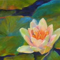The Lotus (Original) By Chris Brandley - I like how the lotus emerges through muddy waters to get to the sunlight, and has such beauty.  This piece can be hung without a frame.