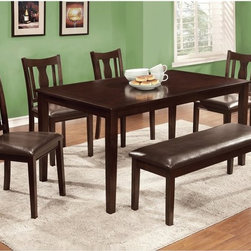 Furniture of America - Furniture of America Chargon 6-Piece Dining Table Set with Bench - Espresso Dark - Shop for Dining Tables from Hayneedle.com! Versatile casual yet oh so stylish the Furniture of America Chargon 6-Piece Dining Table Set with Bench Espresso is a handsome dining room upgrade. This set includes a solid wood and veneers dining table six fiddle back side chairs and a smart bench. All pieces are well-built and finished in dark espresso brown. The chair and bench seats are padded and upholstered in dark brown leatherette. You'll use the bench as extra seating in every room!About Furniture of AmericaFurniture of America has over 20 years experience in the furniture industry. They have facilities in California Georgia and New Jersey. Furniture of American strives to provide a comprehensive selection of home furniture at competitive prices. They feature a wide variety of bedroom collections youth furniture dining room sets upholstery living room furniture accents upholstery and more. Furniture of America offers more value for less always!