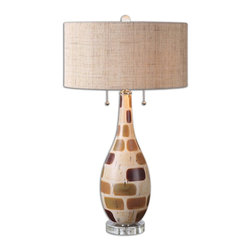 Uttermost - Godric Patchwork Table Lamp - Ceramic base finished in a patchwork of glazes consisting of aged ivory, rust beige, browns, and dark bronze with polished nickel plated accents and crystal details. The round hardback drum shade is a rust burlap fabric. Due to the nature of fired glazes on ceramic lamps, finishes will vary slightly.