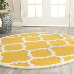 """Safavieh - Safavieh Cambridge CAM140Q 2'6"""" x 12' Gold Rug - Bring classic style to your bedroom, living room, or home office with a richly-dimensional Safavieh Cambridge Rug. Artfully hand-tufted, these plush wool area rugs are crafted with plush and loop textures to highlight timeless motifs updated for today's homes in fashion colors."""