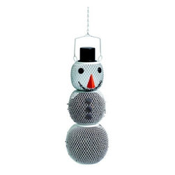 No-No Feeder - Solar Snowman Birdfeeder - Solar Snowman solar-powered LED provides a nighttime glow. Sturdy, all-metal design just fill, hang and enjoy. Dispenses black oil sunflower or safflower seed through mesh. 15 inch high, including top hat lid. This adorable snowman is a great seller year