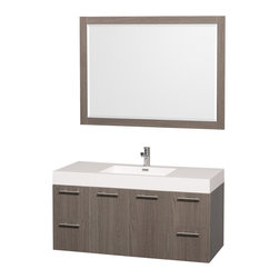 Wyndham - Amare 48in. Wall Vanity Set in Grey Oak w/ Acrylic-Resin Top and Integrated si - Modern clean lines and a truly elegant design aesthetic meet affordability in the Wyndham Collection Amare Vanity. Available with green glass or pure white man-made stone counters, and featuring soft close door hinges and drawer glides, you'll never hear a noisy door again! Meticulously finished with brushed Chrome hardware, the attention to detail on this elegant contemporary vanity is unrivalled.