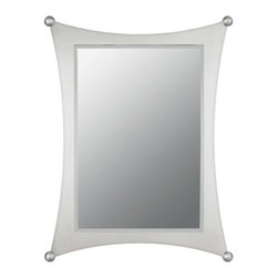 Quoizel - Jasper Beveled Mirror by Quoizel - A lighthearted, whimsical look for modern bathrooms. The Quoizel Jasper Beveled Mirror features a simple rectangular beveled mirror, which is given contemporary distinction by the flared rectangular steel frame that surrounds it. The entire frame and ball details at each corner are enhanced by a soft Brushed Nickel finish. Can be hung vertically or horizontally.For more than 80 years, Quoizel (based in Charleston, SC) has dedicated itself to bringing timeless lighting designs into modern homes. By consciously avoiding design fads, consistently balancing form and function and using only the highest quality materials, Quoizel lighting designs do indeed stand the test of time.The Quoizel Jasper Beveled Mirror is available with the following:Details:Rectangular beveled mirrorSteel frameBrushed Nickel finishCan be hung vertically or horizontallyShipping:This item ships within one to two business days.