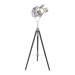 None - Hollywood Studio 'Director's Spotlight' 66-inch Tripod Floor Lamp - Celebrate your love of the Silver Screen with this fun modern tripod floor lamp that is perfect for the family room or game room. This adjustable-height lamp focuses light right where you need it most and looks and functions like a director's spotlight.