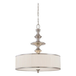 Nuvo Lighting - Candice Brushed Nickel Three-Light Pendant w/Pleated White Shade - -Candice blends the design of traditional chandeliers from the past with contemporary finishes and materials used today. The results are strikingly rich lighting fixtures with a look all their own. Truly original.  This collection is finished in Brushed Nickel with Pleated White fabric shades. Nuvo Lighting - 60/4736