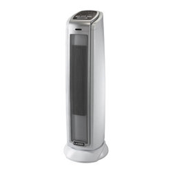 Lasko Products - Oscillating Ceramic Tower Heater - Oscillating Ceramic Tower Heater. This winter when it is cold outside keep it warm and cozy inside with our sleek Ceramic Tower Heater! Designed for home or office this Ceramic Tower Heater takes up very little space yet can powerfully warm an entire room. With its electronic thermostat and two comfort settings keeping the desired temperature is simple. The oscillation feature spreads warmth evenly throughout the room. An energy-saving Auto-Off timer is included for your convenience. Widespread Oscillation for Broad Area Coverage.