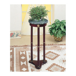 "Coaster - ""Coaster Plant Stand, Cherry"" - ""Green marble top plant stand with cherry finish base.Dimensions (W x L x H): 12.00"""" x 12.00"""" x 27.50""""Finish/Color: CherryAssembly Required: NoMade in Taiwan"""