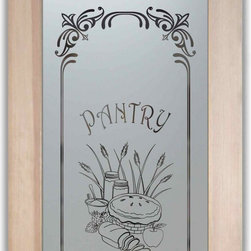 "Pantry Doors - Frosted Etched Glass Designs - PANTRY DOORS TO SUIT YOUR STYLE!  Glass Pantry Doors you customize, from wood type to glass design!   Shipping is just $99 to most states, $159 to some East coast regions, custom packed and fully insured with a 1-4 day transit time.  Available any size, as pantry door glass insert only or pre-installed in a door frame, with 8 wood types available.  ETA for pantry doors will vary from 3-8 weeks depending on glass & door type.........Block the view, but brighten the look with a beautiful obscure, decorative glass pantry door by Sans Soucie!   Select from dozens of frosted glass designs, borders and letter styles!   Sans Soucie creates their pantry door obscure glass designs thru sandblasting the glass in different ways which create not only different effects, but different levels in price.  Choose from the highest quality and largest selection of frosted glass pantry doors available anywhere!   The ""same design, done different"" - with no limit to design, there's something for every decor, regardless of style.  Inside our fun, easy to use online Glass and Door Designer at sanssoucie.com, you'll get instant pricing on everything as YOU customize your door and the glass, just the way YOU want it, to compliment and coordinate with your decor.  When you're all finished designing, you can place your order right there online!  Glass and doors ship worldwide, custom packed in-house, fully insured via UPS Freight.   Glass is sandblast frosted or etched and pantry door designs are available in 3 effects:   Solid frost, 2D surface etched or 3D carved. Visit or site to learn more!"