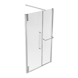 Kalia - Kalia | Klass Rectangular Frameless Alcove Shower Door with Towel Bar - Made by Kalia.A part of the Klass Collection. Add sophistication and function to bathrooms of any size with the Klass Rectangular Frameless Alcove Shower Door with Towel Bar. The attractive, sleek design, large ergonomic handles, generous height, and superior construction will instantly modernize master bathrooms. The crystal-clear glass, durable construction, and ultra-smooth pivoting technology make these modern shower doors simply irresistible. Product Features: