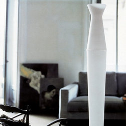 Tower Floor Lamp by Penta Light - Tower Floor Lamp by Penta Light. Lamps with base in wood stained wengé, honey colour or white lacquered shade in white blown glass. Pendant available only in transparent blown glass with inside pyrex. Tower Floor Lamp by Penta Light are designed by Wanni Rondani.