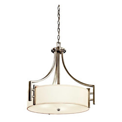 Kichler - Kichler Quinn Drum Shade Pendant Light in Antique Pewter - Shown in picture: Kichler Inverted Pendant 3Lt in Antique Pewter