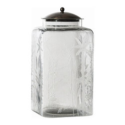 Arteriors - Canton Jar, Large - This was inspired by a simple kitchen canister; however, the elaborate hand etching elevates it to elegance and crosses the boundary of East and West. Fill with bath salts or jelly beans, or use as a cookie jar. The bronze steel lid will keep your contents dry.