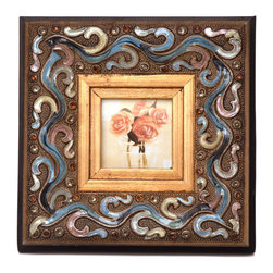 "Traders and Company - Enamel Inlaid 3x3 Wood Picture Frame w/ Jewels, 7.75""Lx1.5""Wx7.75""H - Breakers - Crafted from wood and given a classically antiqued look, each frame is dramatically inlaid with swirled resinous enamel. Embedded colorful rhinestone jewels dot the design, adding sparkle and shimmer to your photos. Each frame comes with an attached kickstand for desktop use, or hooks for vertical or horizontal wall hanging. Fits 3""x3"" photos. Alternate shapes & styles sold separately. Dimensions: 7.75""Lx1.5""Wx7.75""H"
