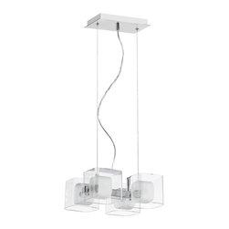 Dainolite - Dainolite 60154-PC 4 Light Fixture Pc Finish Clear Glass / Frosted Glass - Dainolite 60154-PC 4 Light Fixture PC Finish Clear Glass / Frosted Glass