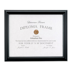 Lawrence Frames - 11x14 Black Diploma Frame - Domed Top, Black, 11x14 - Black domed composite 11x14 picture frames has a high quality black velvet backing including an easel for vertical or horizontal table top display and hangers for wall mounting and comes individually boxed.