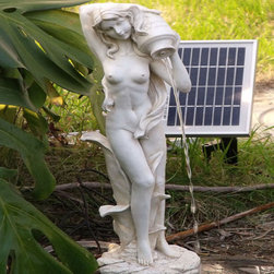 None - Standing Girl Pond Fountain with Solar Pump Kit - Decorate your garden with this beautiful pond fountain, which depicts the goddess, Aphrodite, holding a pot of water. This off-white, 15-inch-high fountain is solar powered, which allows the water to flow from the pot simply with the help of the sun.
