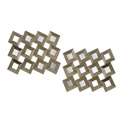 """Sterling Industries - Sterling Industries 138-101/S2 Individual Square Mirrors in Antique Silver - 12 Individual Mirrors Are Framed In Hammered Look Metal Frames And Form One Mirror. 38"""" X 29"""" This Mirror Can Be Hung Vertically Or Horizontally."""