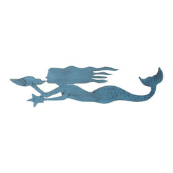 """Handcrafted Model Ships - Rustic Ocean Blue Mermaid 40"""" - Mermaid Decoration - Our Rustic Ocean Blue Wooden Mermaid 44"""" is a an instant conversation starter when put on display in your beach theme home. Perfect for those who have an affinity for sea life or those who love mermaid decor, this mermaid decoration can be displayed prominently on a wall or can lean right up against a wall as an accent piece. Give this as a beach theme gift to a loved one and choose between the following colors - Rustic Whitewash, Rustic Red, Rustic Ocean Blue, or Rustic Coastal Blue."""