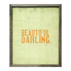 Kathy Kuo Home - Beuatiful Darling Reclaimed Wood Wood Art Print - Designed by a husband and wife team, our giclee prints are inspired by the ones we love. Motifs comes from family, nature, animals, old things, children's art and folk art. All prints are hand painted first, and then giclee printed in the Blue Ridge Mountains of North Georgia.