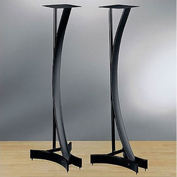 """Bello - Heavy Duty 36"""" Fixed Height Speaker Stand (Set of 2) - Distinctive 36"""" tall steel frame design in elegant Black finish. Hook-and-loop adhesive strips included for securely mounting speakers. Features wire management. Flat and spiked feet are included for carpet or hardwood floor use. Weight capacity up to 100 lbs (45 kg). Features: -Heavy duty metal stands.-Velcro strips for mounting speakers.-Wire Management.-Sold in pairs.-Spikes and leveling feet included.-Capacity up to 100 lbs.-Distressed: No.-Adjustable: No.-Sand Lead Fillable: No.-Stabilizer Feet: Yes.-Floor Protection: Yes.-Collection: Speaker Stands.Dimensions: -7'' x 7'' Top Plate.-Overall Dimensions Width: 13.5.-Overall Dimensions Depth: 11"""".-Base Width: 13.5"""".-Base Depth: 11"""".-Assembled Weight: 26 lbs.Assembly: -Assembly Type: Assembly Required.Warranty: -Product Warranty: 1 Year."""