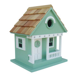 "Home Bazaar - Beachcomber Sand Dollar Cottage Birdhouse - Teal - Part of our Beachcomber Collection of whimsical, fully functional birdhouses, the Sand Dollar Cottage Birdhouse in teal features a classic sand dollar motif with ""punched-out"" details along the front porch and side window trims. A handsome, teal sand dollar adorns the front door. A removable back wall, drainage, ventilation, an unpainted interior and a 1 1/4"" hole size will invite nesting birds in and keep larger ones out. The finish is an outdoor, water-based, non-toxic paint. Likely inhabitants may include chickadees, nuthatches, wrens and titmice. The convenient, swing-up paddle-board attached to the back allows you to hang this beautiful birdhouse anywhere. A Four Piece Pre-Pack is available at a reduced, per-unit cost.; Weight: 1.5 lbs; Dimensions: 9.5""H x 8.25""W x 6.5""D"