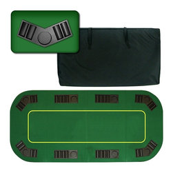 "Trademark Global - Deluxe Texas Hold'em Poker Folding Tabletop - Comes with a black nylon carrying bag with heavy duty 2-way zipper and double strap handle. Table is made from 0.5 in. wood and covered with a professional style green felt. New trays have 2 spring loaded pins for a secure fit to the table. This 8 player position poker table comes complete with removable trays for poker chips and a drink holder. Table folds down to 20 in. x 36 in. for easy storage in a closet or under your bed. 78.5 in. L x 36 in. W x 0.50 in. H (33 lbs.)The table's felt is marked with a yellow border, signifying the ""live area"" in which to bet and where your community cards would lie. This table top has a really nice feel to it. The best thing about this table top is its convenience. It is very easy to travel with as it fits into the trunk of a car. Its not very heavy for travel but it is solid enough for durable use. .It is a FULL SIZE 80 in. x 36in. table top which fits very nicely onto a card table or any kitchen table and instantly transforms it into a poker table."