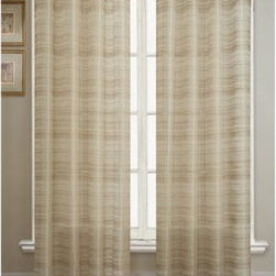 Victoria Classics - Bryce Sheer Grommet Window Curtain Panel - This beautiful, sheer panel has a chenille stripe, giving it a rich feel and textural appearance. Coordinate with the waterfall valance (sold separately) to complete the window ensemble.